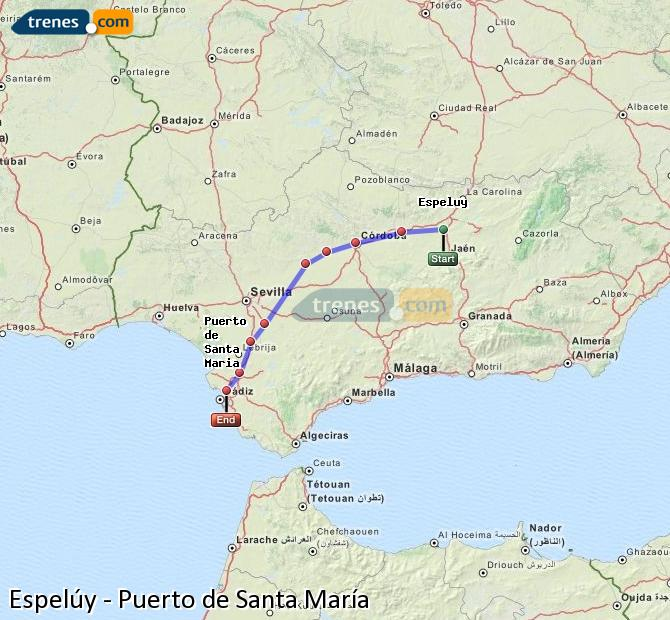 Agrandir la carte Trains Espelúy Puerto de Santa María