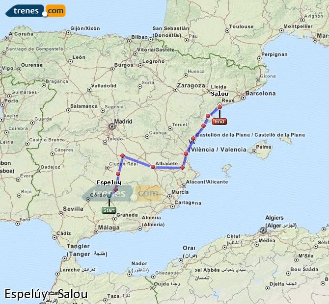 Enlarge map Trains Espelúy to Salou