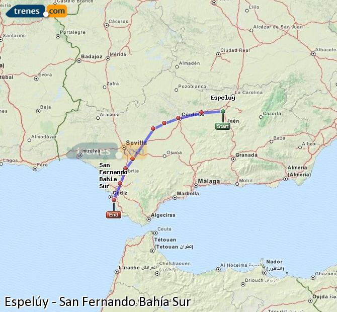 Ampliar mapa Comboios Espelúy San Fernando Bahía Sur