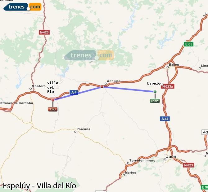 Enlarge map Trains Espelúy to Villa del Rio