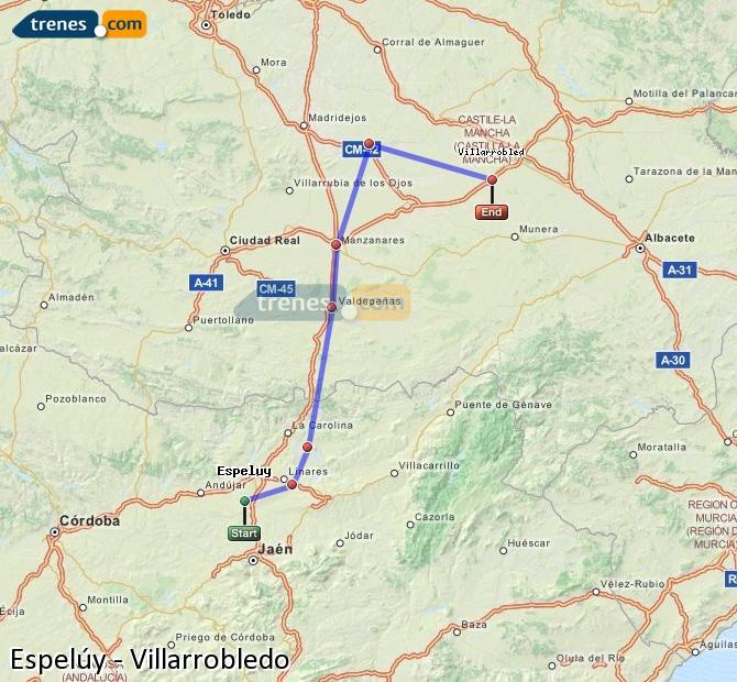 Ampliar mapa Comboios Espelúy Villarrobledo