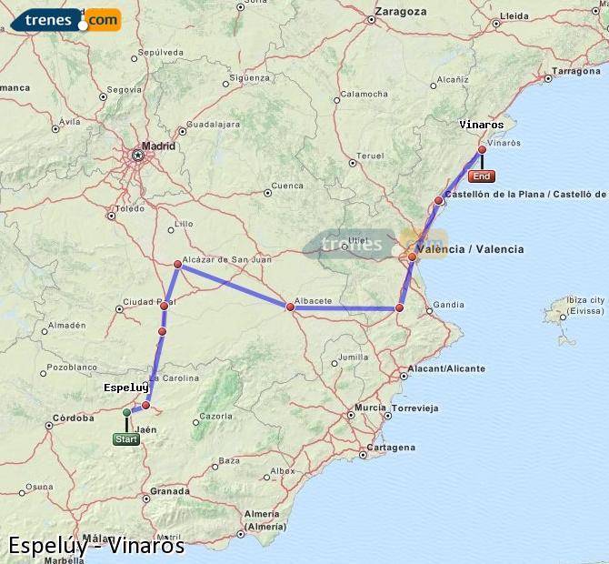 Ingrandisci la mappa Treni Espelúy Vinaròs
