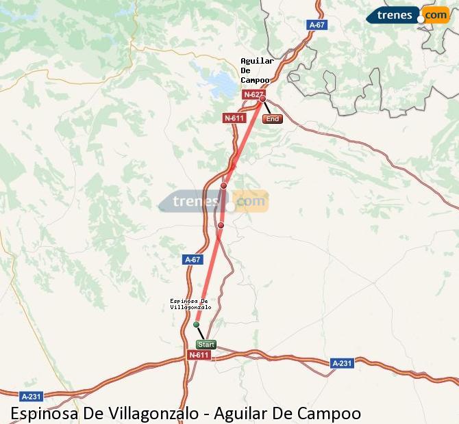 Enlarge map Trains Spinosa De Villagonzalo to Aguilar De Campoo