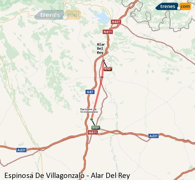 Enlarge map Trains Spinosa De Villagonzalo to Alar Del Rey