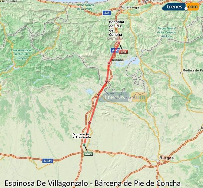 Enlarge map Trains Spinosa De Villagonzalo to Bárcena de Pie de Concha