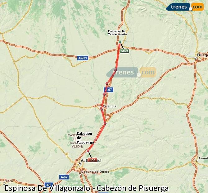 Enlarge map Trains Spinosa De Villagonzalo to Cabezón de Pisuerga