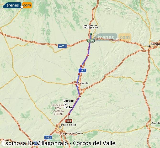 Enlarge map Trains Spinosa De Villagonzalo to Corcos del Valle