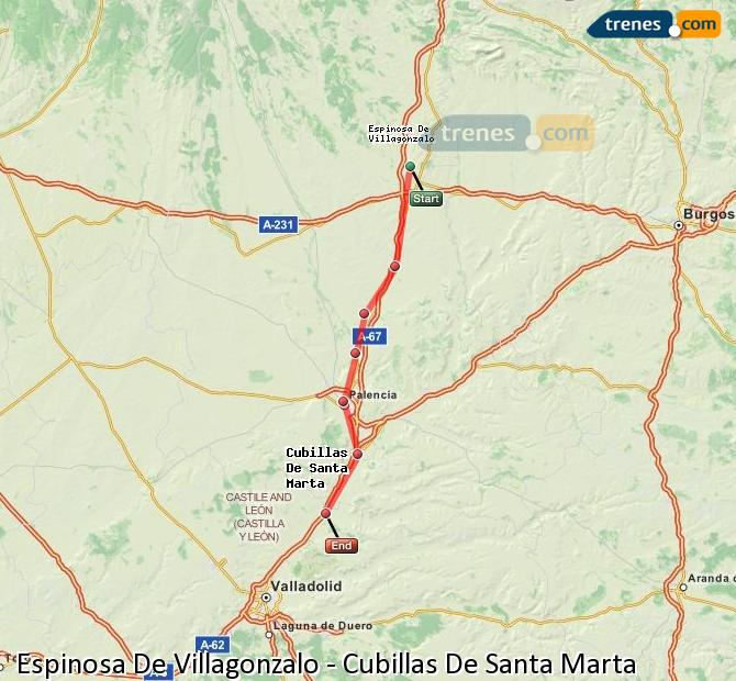 Enlarge map Trains Spinosa De Villagonzalo to Cubillas De Santa Marta