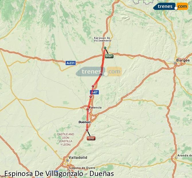 Enlarge map Trains Spinosa De Villagonzalo to Dueñas