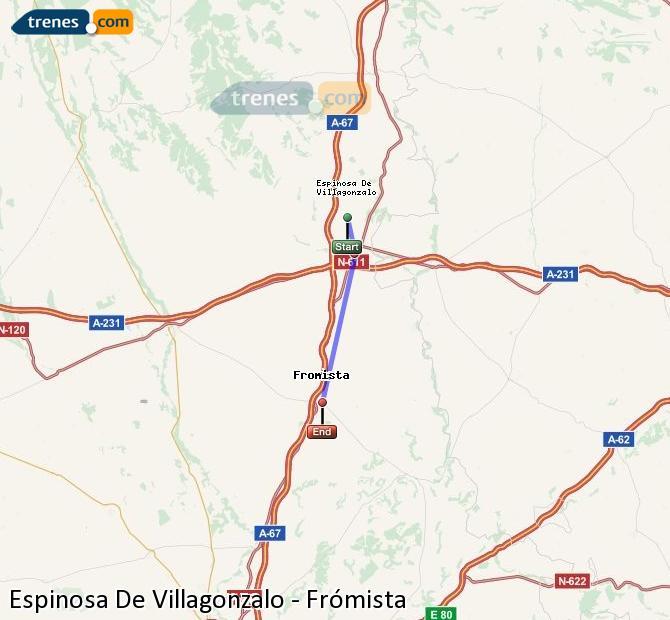 Agrandir la carte Trains Espinosa De Villagonzalo Frómista