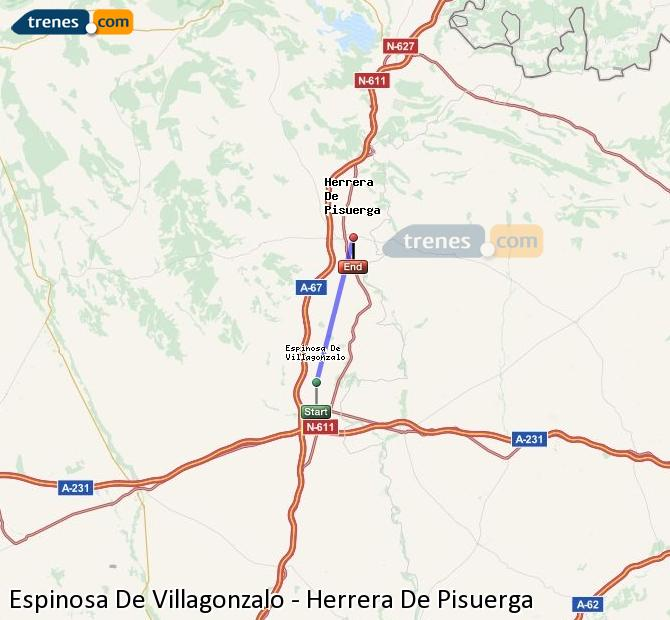 Enlarge map Trains Spinosa De Villagonzalo to Herrera De Pisuerga