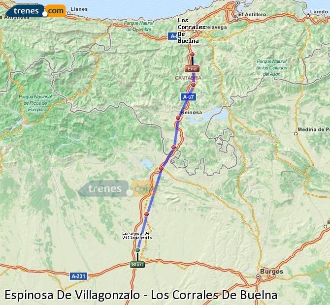 Enlarge map Trains Spinosa De Villagonzalo to Los Corrales De Buelna