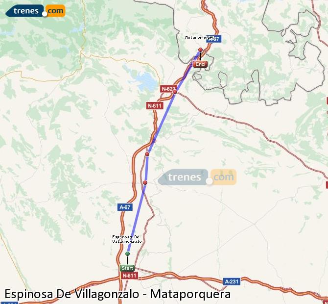 Enlarge map Trains Spinosa De Villagonzalo to Mataporquera