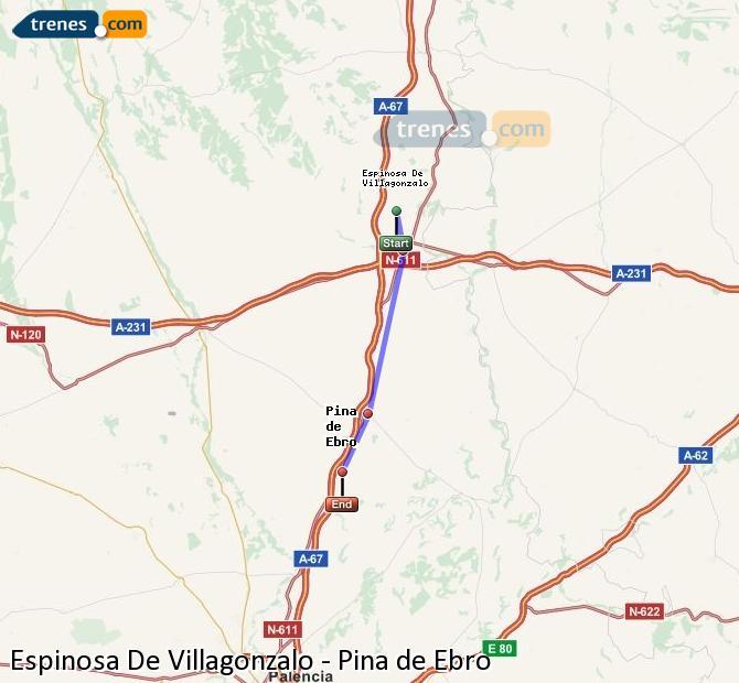 Enlarge map Trains Spinosa De Villagonzalo to Pina de Ebro
