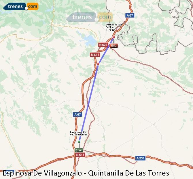 Enlarge map Trains Spinosa De Villagonzalo to Quintanilla De Las Torres