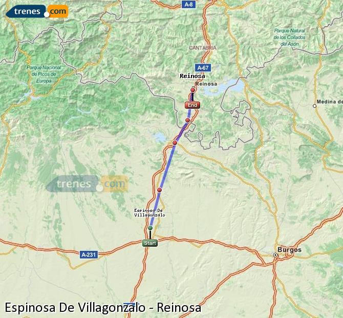 Agrandir la carte Trains Espinosa De Villagonzalo Reinosa