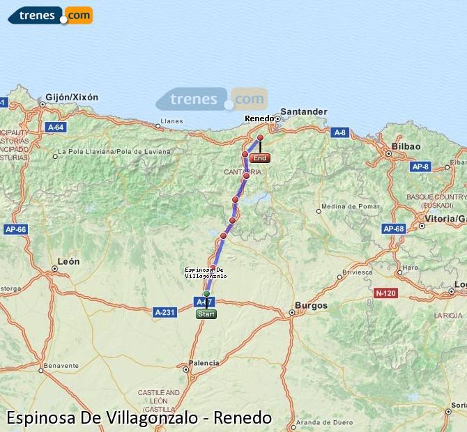 Enlarge map Trains Spinosa De Villagonzalo to Renedo
