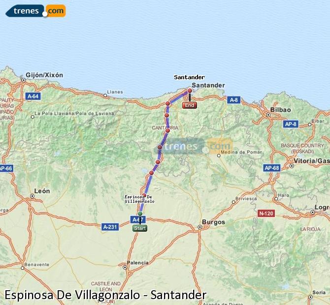 Enlarge map Trains Spinosa De Villagonzalo to Santander