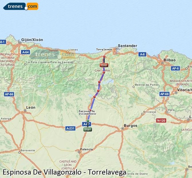 Enlarge map Trains Spinosa De Villagonzalo to Torrelavega
