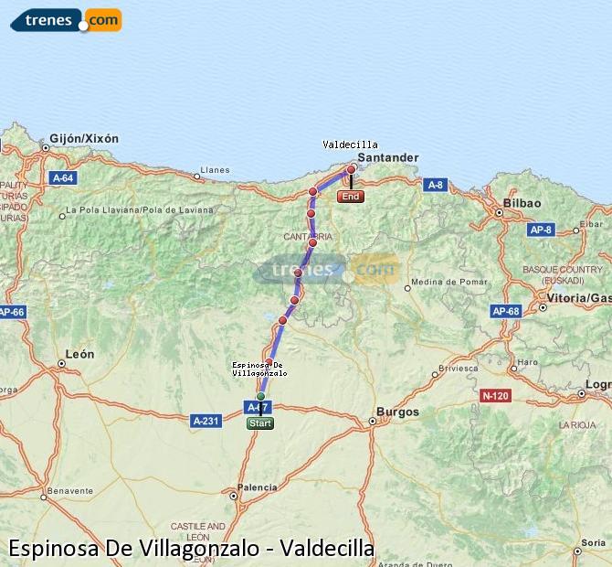 Enlarge map Trains Spinosa De Villagonzalo to Valdecilla