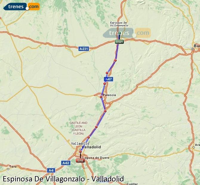 Enlarge map Trains Spinosa De Villagonzalo to Valladolid