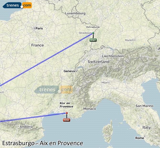 Ampliar mapa Trenes Estrasburgo Aix en Provence