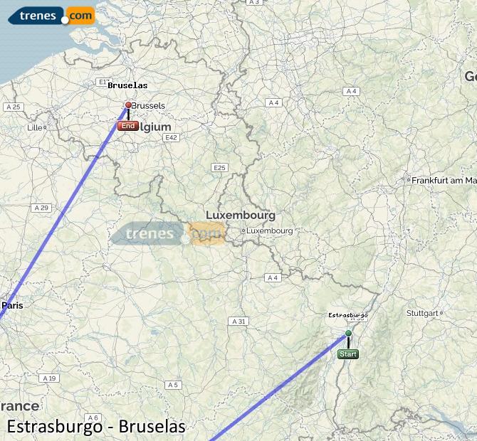 Agrandir la carte Trains Strasbourg Bruxelles