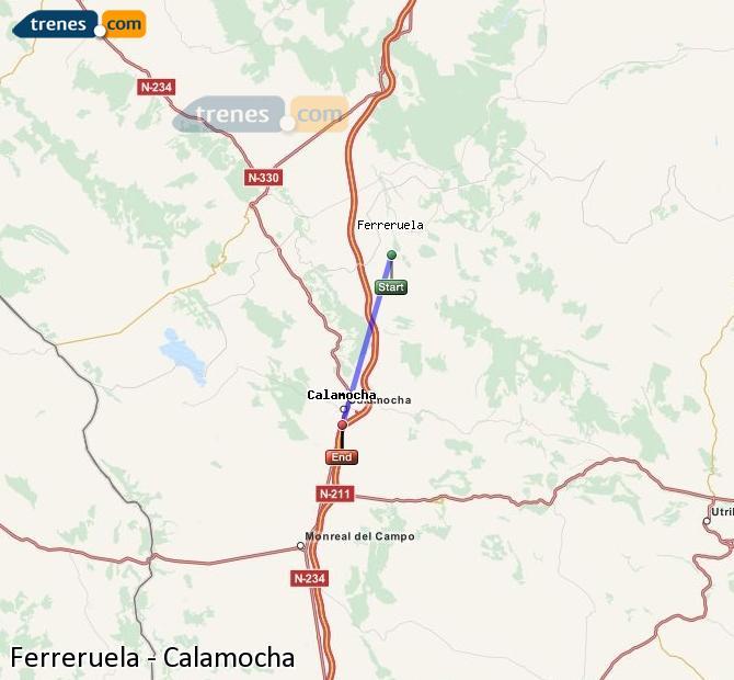 Karte vergrößern Züge Ferreruela Calamocha