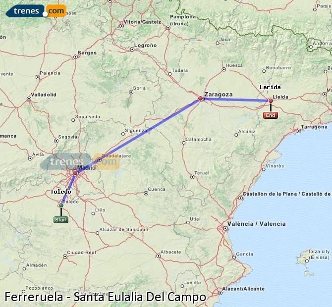 Agrandir la carte Trains Ferreruela Santa Eulalia Del Campo