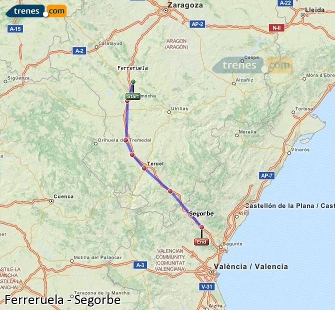 Enlarge map Trains Ferreruela to Segorbe