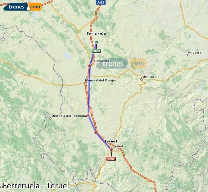 Ampliar mapa Comboios Ferreruela Teruel