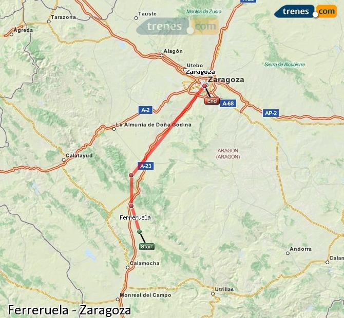 Enlarge map Trains Ferreruela to Zaragoza