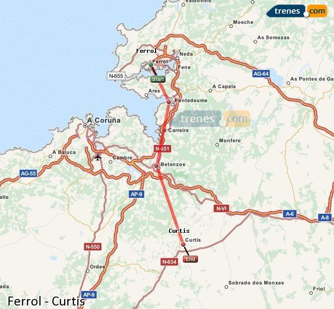 Karte vergrößern Züge Ferrol Curtis