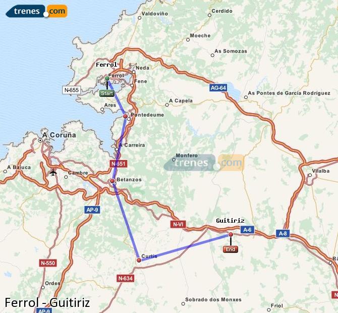 Ampliar mapa Trenes Ferrol Guitiriz
