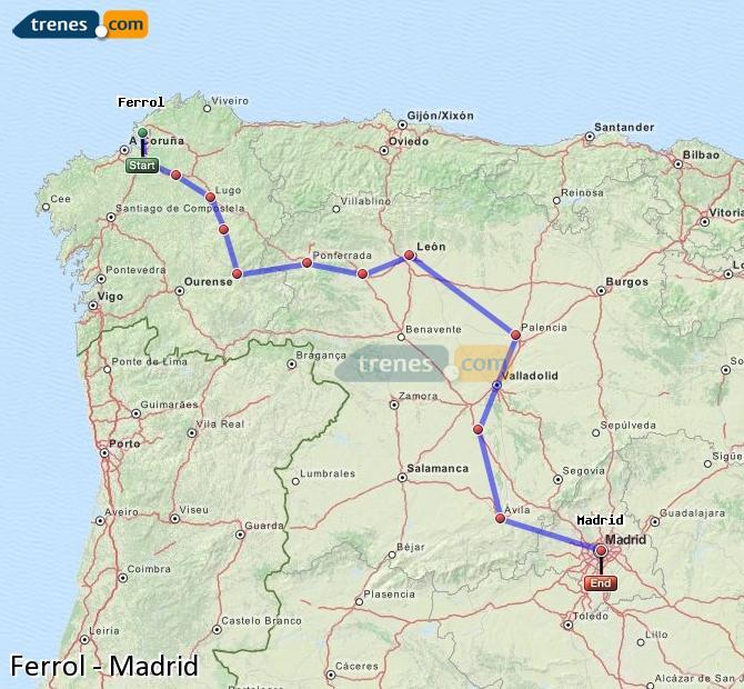 Ampliar mapa Trenes Ferrol Madrid