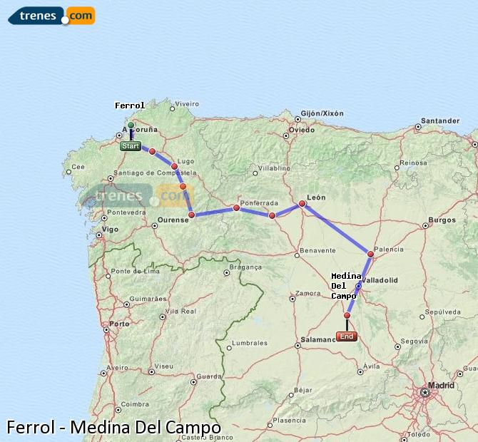 Karte vergrößern Züge Ferrol Medina Del Campo