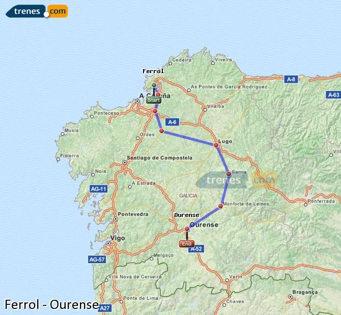 Enlarge map Trains Ferrol to Ourense