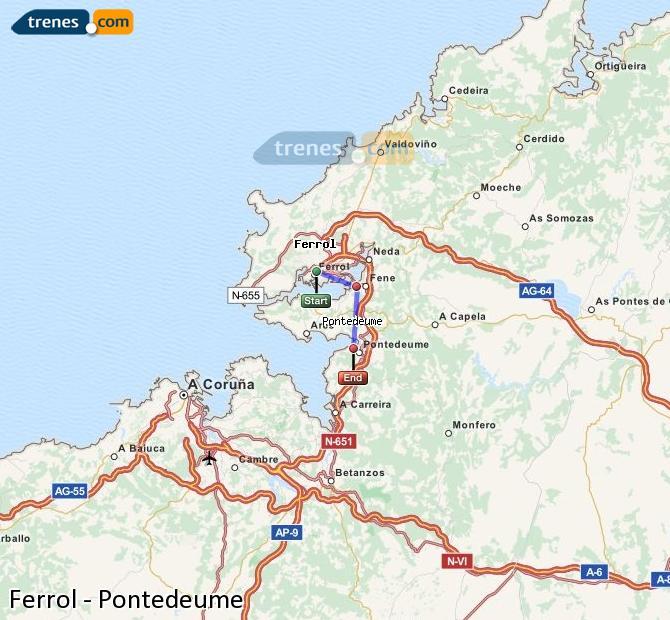 Ingrandisci la mappa Treni Ferrol Pontedeume