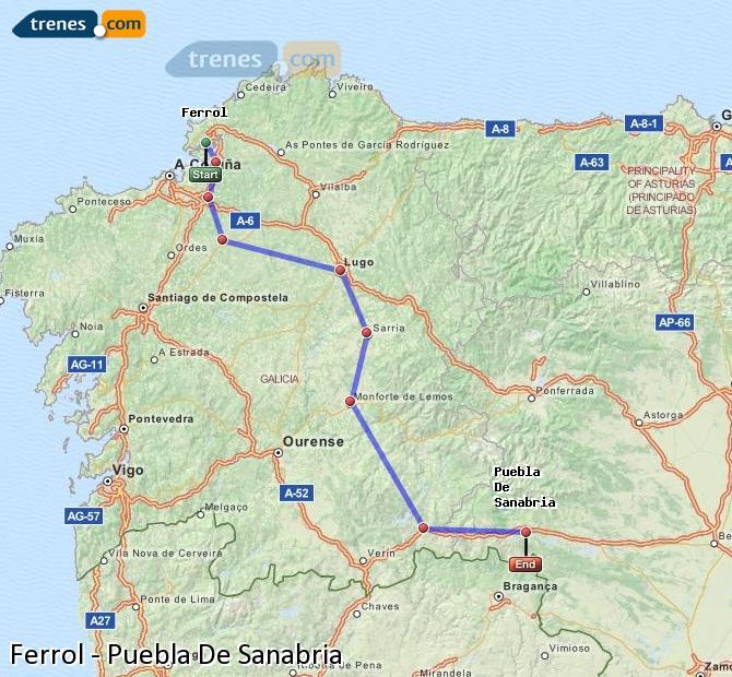 Ingrandisci la mappa Treni Ferrol Puebla De Sanabria