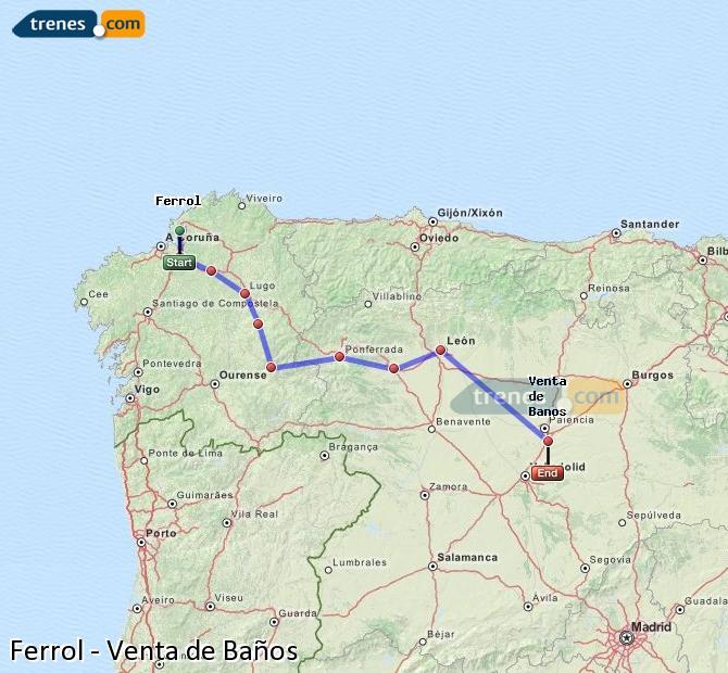 Agrandir la carte Trains Ferrol Venta de Baños