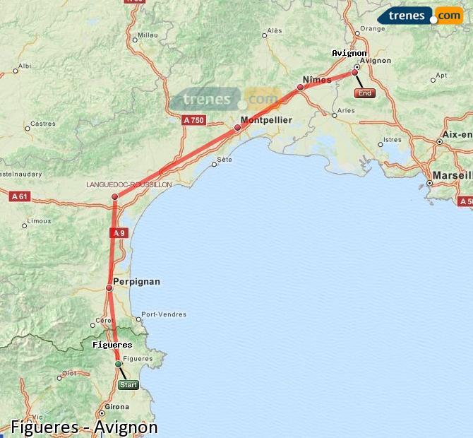Ampliar mapa Trenes Figueres Avignon