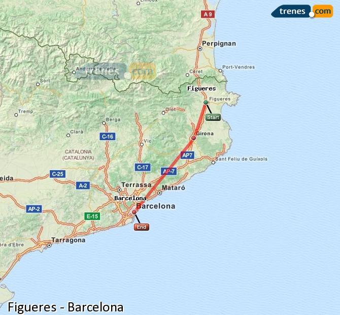Karte vergrößern Züge Figueres Barcelona