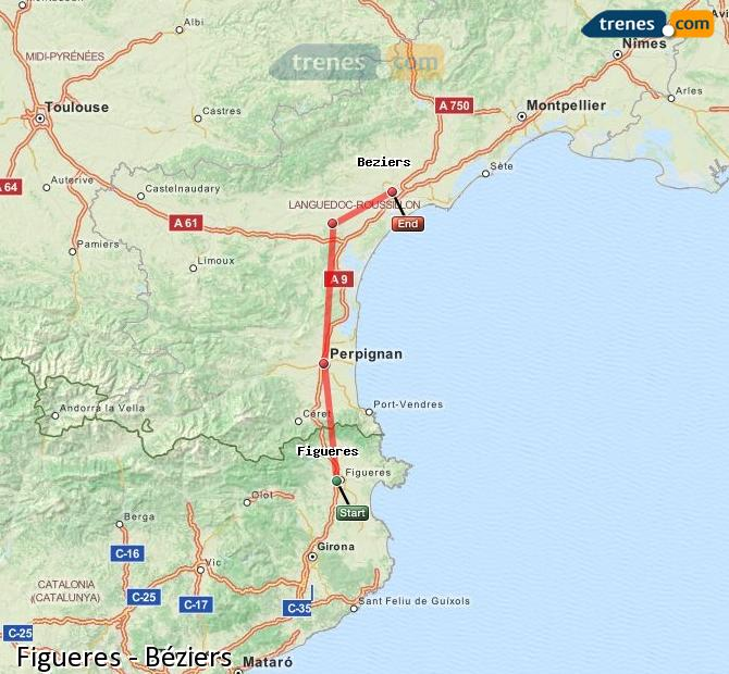 Enlarge map Trains Figueres to Béziers