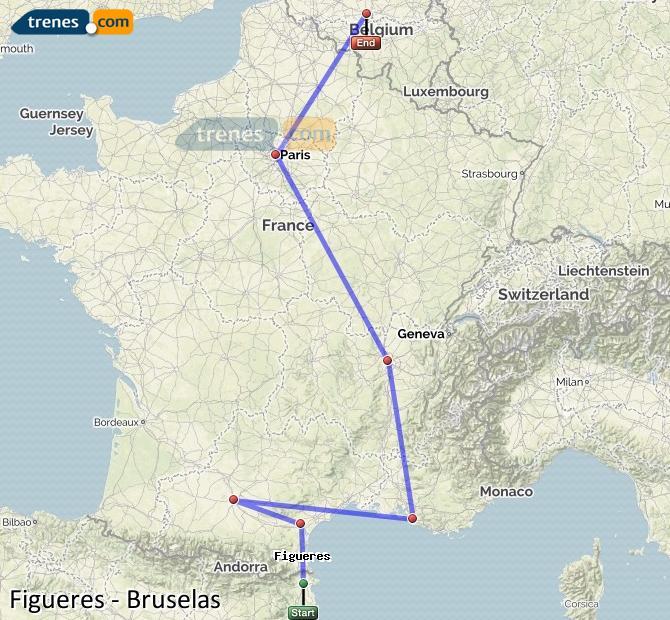 Karte vergrößern Züge Figueres Brüssel