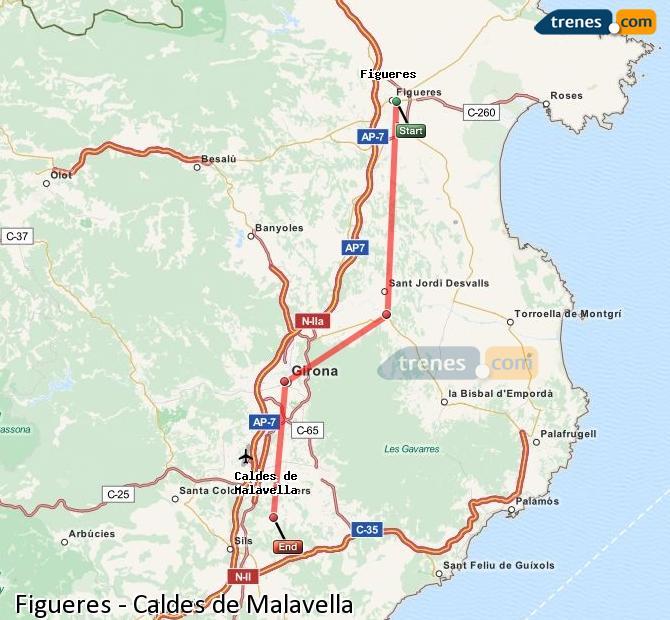 Ingrandisci la mappa Treni Figueres Caldes de Malavella