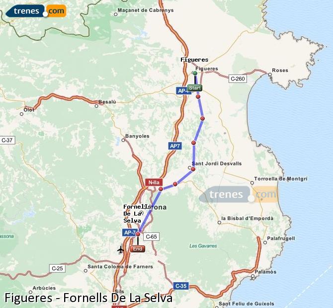 Enlarge map Trains Figueres to Fornells De La Selva