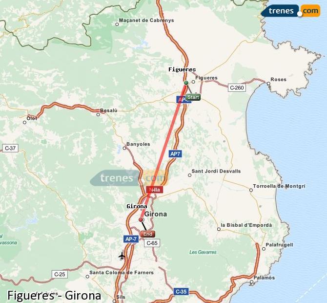 Ampliar mapa Trenes Figueres Girona