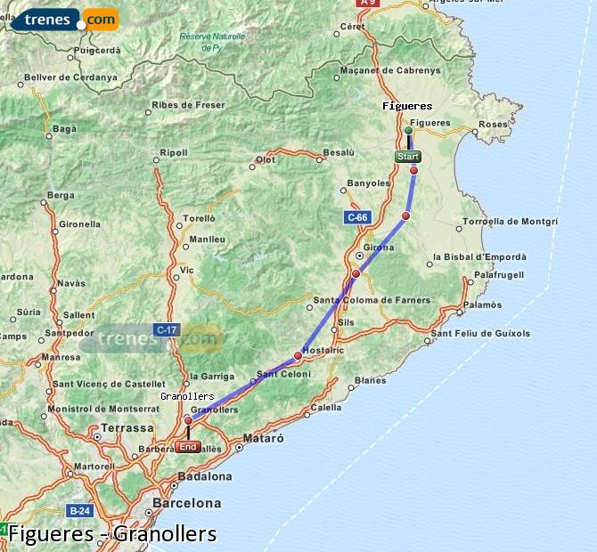 Enlarge map Trains Figueres to Granollers