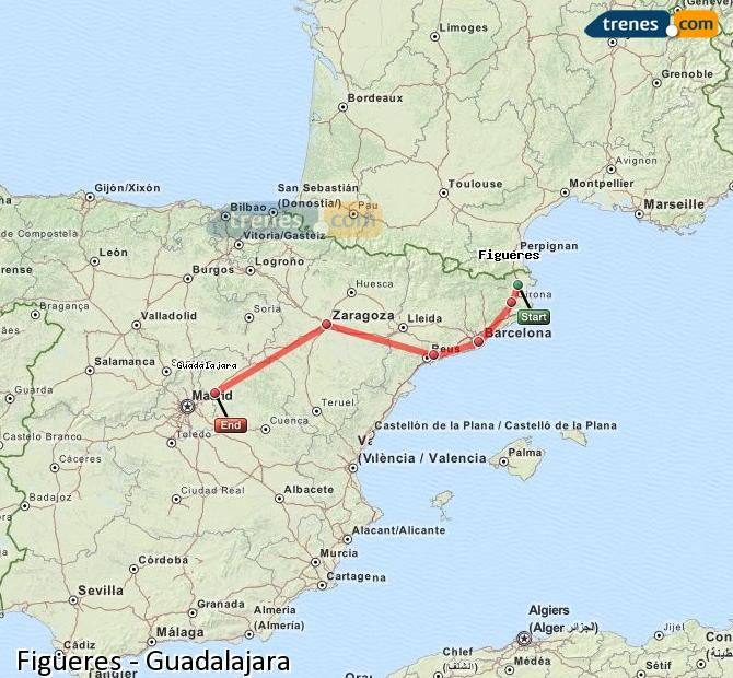Enlarge map Trains Figueres to Guadalajara