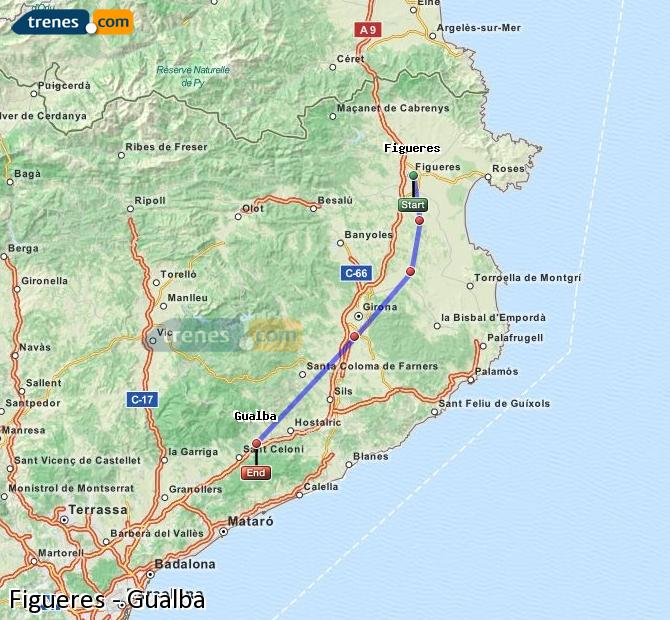 Enlarge map Trains Figueres to Gualba